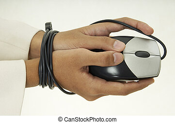 Bound By Technology 3 - A woman holds a mouse and her hands ...