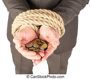 Bound hands with coins
