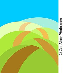 Boundless meadows with path. Summer landscape. Vector illustration