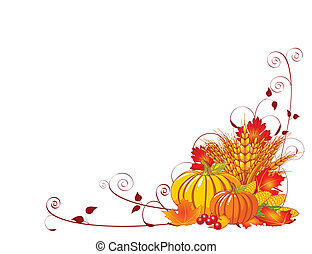 Bountiful Harvest - Seasonal background with plump pumpkins,...