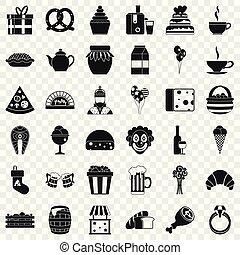 bounty, iconen, set, eenvoudig, stijl