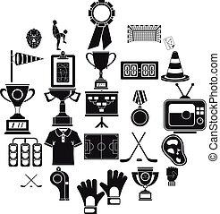 bounty, iconen, set, spotprent, stijl