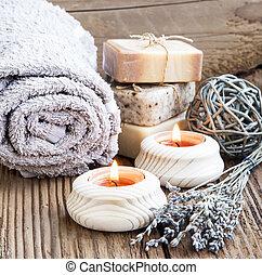bouqu, abrasador, velas, lavander, ajuste, salud, balneario