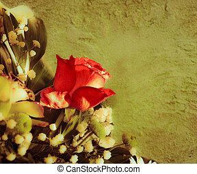 bouquet, à, rose rouge, sur, a, fond, wall., vendange, styled.