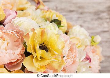 bouquet, été, fleurs, pivoine, arrangement