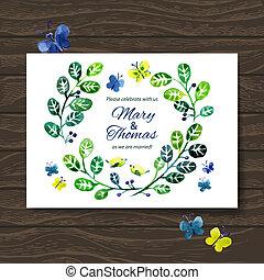 bouquet., 招待, カード, 背景, 結婚式, 花, 水彩画, ベクトル
