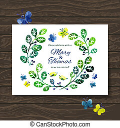bouquet., 招待, 水彩画, ベクトル, 背景, 結婚式, 花, カード