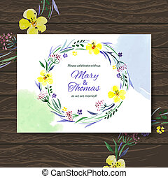 bouquet., 水彩画, ベクトル, 背景, 招待, 花, 結婚式, カード