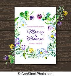 bouquet., 水彩, 矢量, 背景, 邀請, 植物, 婚禮, 卡片