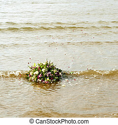 Bouquet afloat in the gentile surf of the north sea, as...