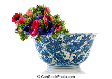 Bouquet anemones in antique bowl - Colorful bouquet Anemones...