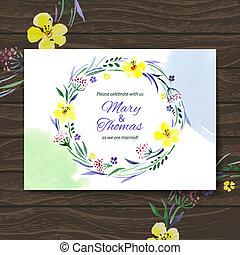 bouquet., aquarela, vetorial, fundo, convite, floral, casório, cartão