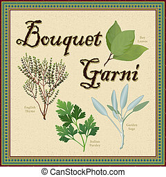 bouquet, aromate, mélange, garni, francais