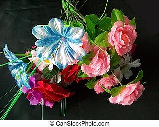 Bouquet artificial colour on black