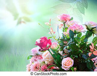bouquet, artificiel, arrangement, roses, vert, contre, barbouillage, fleurs