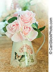 bouquet, artificiel, décoration, roses, maison, fleurs, arranger