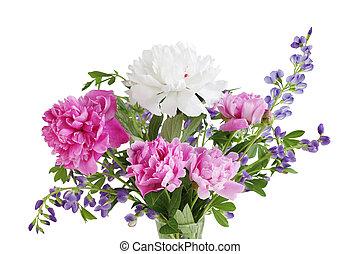 bouquet, baptisia, pivoine
