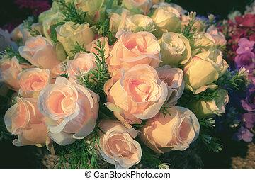 bouquet, beau, décoration, roses, artificiel, fleur