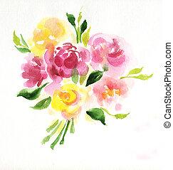 Bouquet, blanc, fleurs, isolé