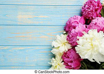 bouquet, bois, fleurs, pivoine, table