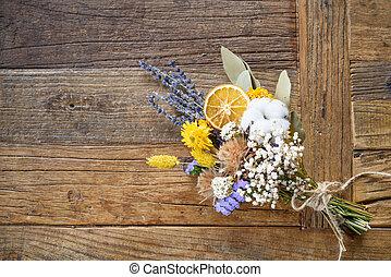 bouquet, bois, fleurs, séché, fond