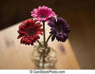 bouquet, bois, fleurs, table