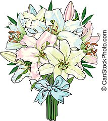 Bouquet, bunch of lily flowers tied with ribbon