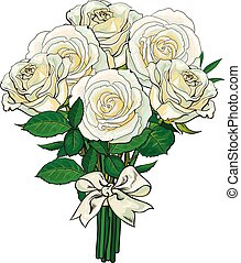 Bouquet, bunch of white roses tied with ribbon