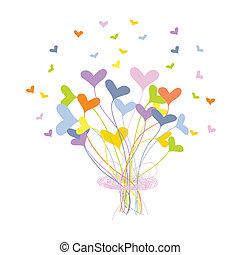 bouquet, cœurs, fait, carte voeux