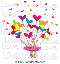 bouquet, cœurs, fond