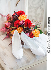 bouquet, chaise, chaussures, mariage