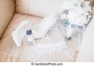 bouquet, chaussures, mariage