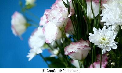 bouquet, chrysanthèmes, beau, lisianthus, grand, blanc