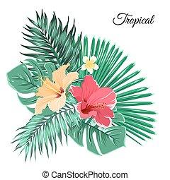 Bouquet composition exotic flowers tropical leaves