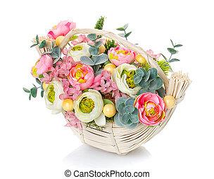 Bouquet, composition of flowers in a wicker basket