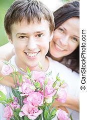 bouquet, couple, fleurs