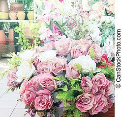 bouquet, décoration, arranger, fleurs, maison