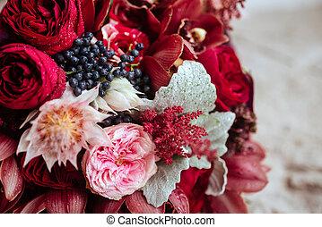 bouquet, décoration, fleurs, arranger