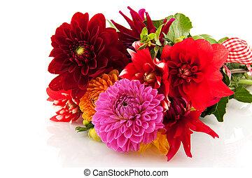 bouquet, dahlias, fête