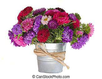 bouquet, de, aster, fleurs dans vase