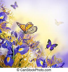bouquet, de, bleu, iris, fleurs blanches, et, papillon