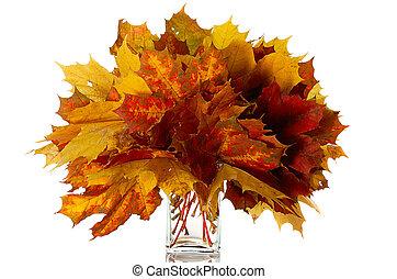 bouquet, de, feuilles automne