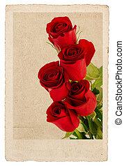 bouquet, de, roses rouges, dans, vendange, carte postale, style