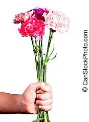 Bouquet, donne, fleurs, homme