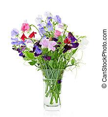 bouquet, doux, fleurs, pois, vase