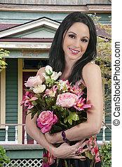 bouquet, femme, fleurs
