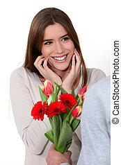 bouquet, femme, réception