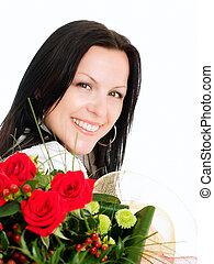 bouquet, femme souriante, fleurs