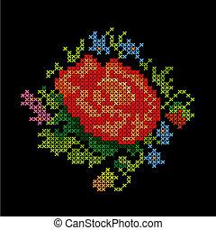 bouquet fiore, ricamo