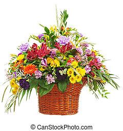 bouquet fiore, vimine, isolato, disposizione, centrotavola, fondo., cesto, bianco, closeup.